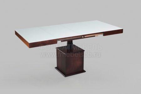 Стол-трансформер с белым стеклом